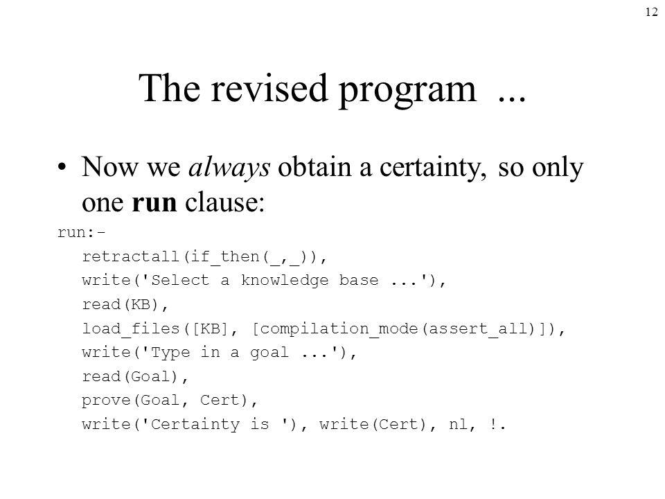 12 The revised program...