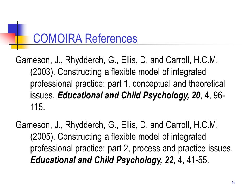 15 Gameson, J., Rhydderch, G., Ellis, D. and Carroll, H.C.M. (2003). Constructing a flexible model of integrated professional practice: part 1, concep