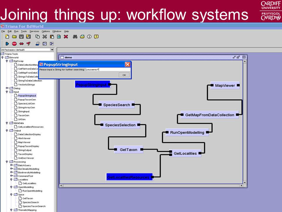 Cardiff School of Computer Science & Informatics 18 Joining things up: workflow systems