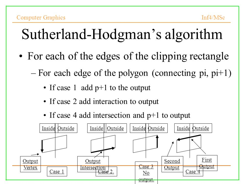 Computer Graphics Inf4/MSc Sutherland-Hodgman's algorithm For each of the edges of the clipping rectangle –For each edge of the polygon (connecting pi, pi+1) If case 1 add p+1 to the output If case 2 add interaction to output If case 4 add intersection and p+1 to output InsideOutsideInsideOutsideInsideOutsideInsideOutside Case 3 No output.