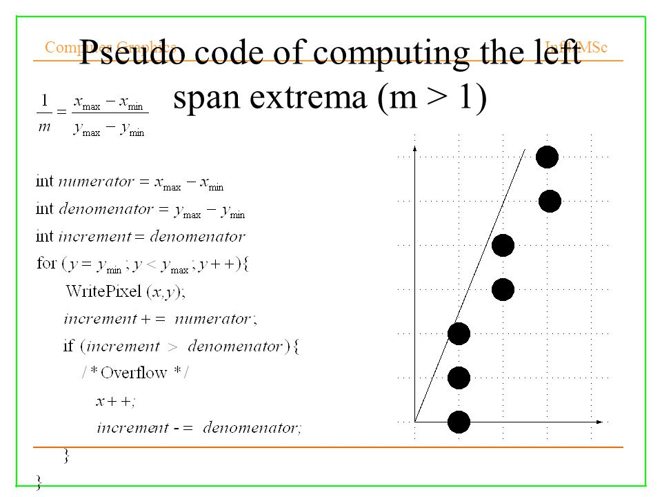 Computer Graphics Inf4/MSc Cohen-Sutherland 2D outcodes 0000 0100 0001 1001 10001010 0010 01100101 Both endpoint codes 0000, trivial acceptance, else: Do logical AND of outcodes