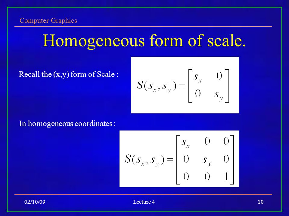 Computer Graphics 02/10/09Lecture 410 Homogeneous form of scale.