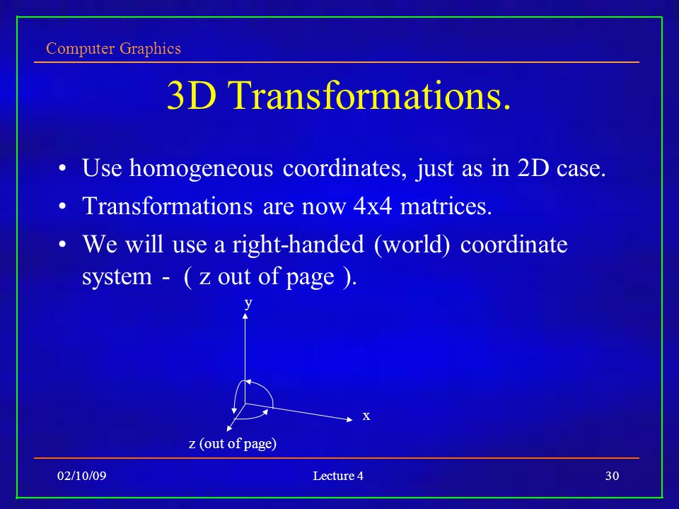Computer Graphics 02/10/09Lecture 430 3D Transformations.
