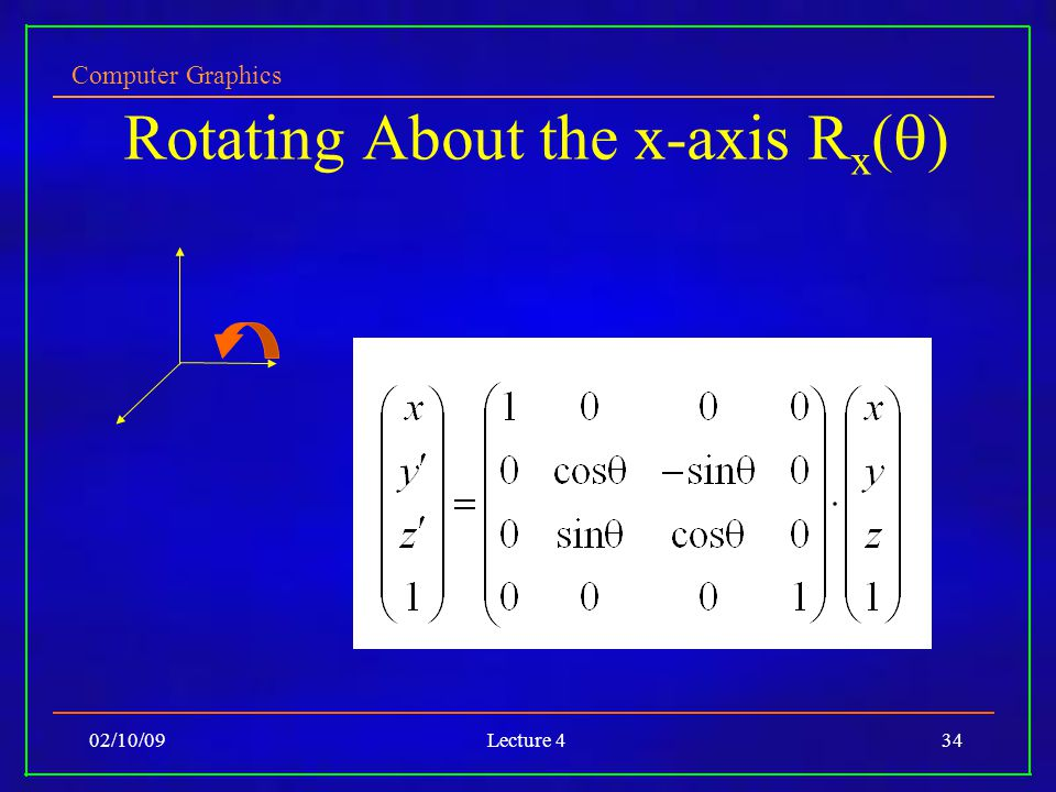 Computer Graphics 02/10/09Lecture 434 Rotating About the x-axis R x (  )‏