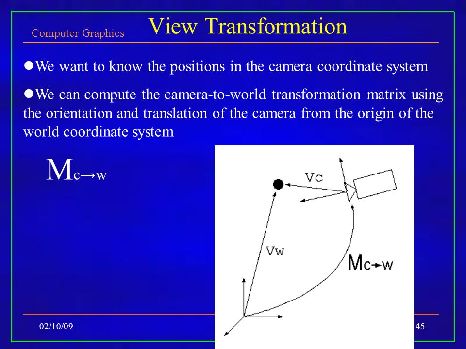 Computer Graphics 02/10/09Lecture 445 View Transformation We want to know the positions in the camera coordinate system We can compute the camera-to-world transformation matrix using the orientation and translation of the camera from the origin of the world coordinate system M c→w