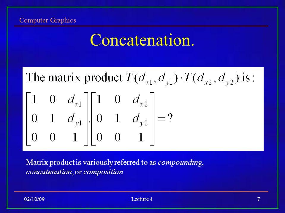 Computer Graphics 02/10/09Lecture 47 Concatenation.