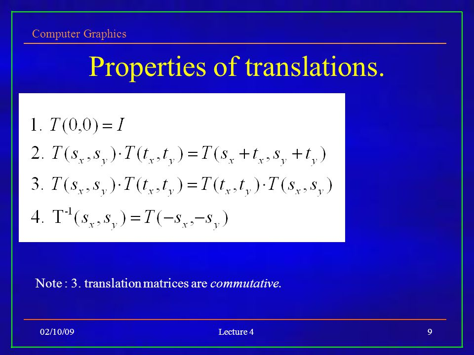 Computer Graphics 02/10/09Lecture 49 Properties of translations.