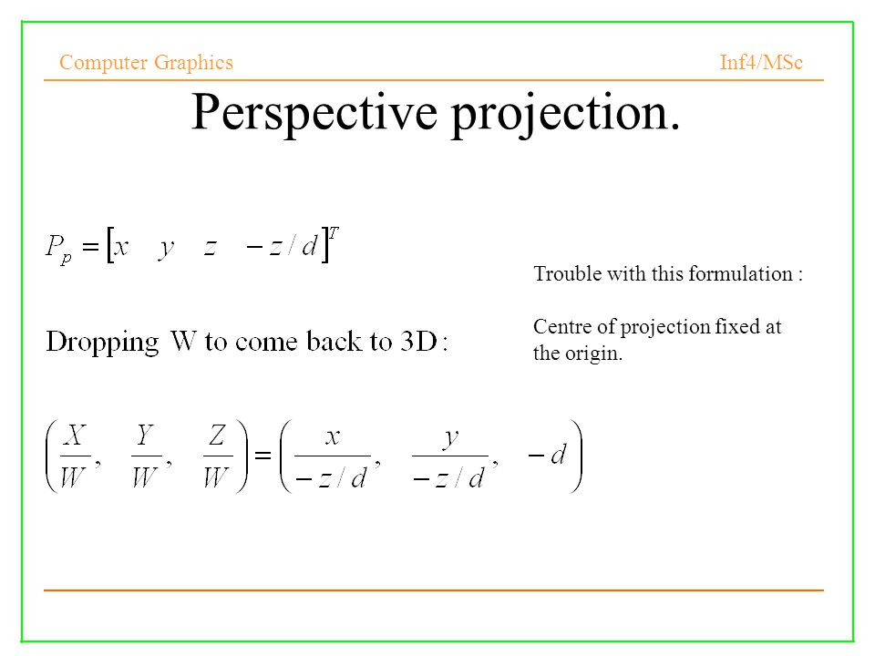 Computer Graphics Inf4/MSc 21 Perspective projection.