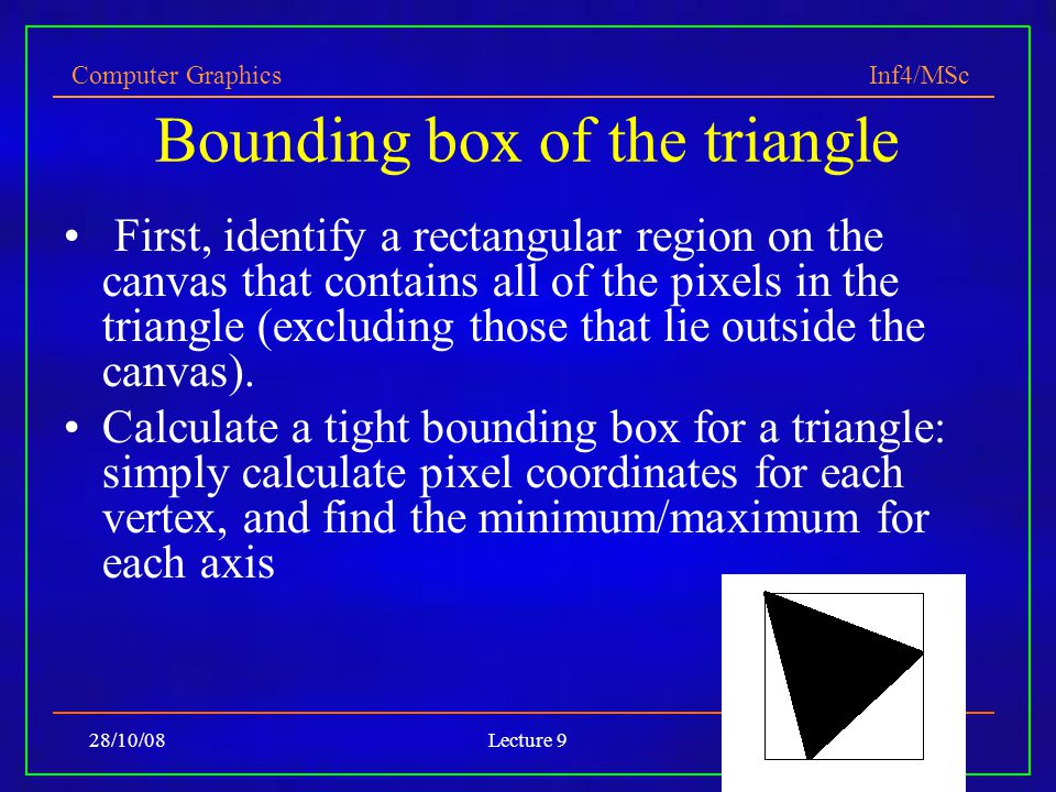 Computer Graphics Inf4/MSc 28/10/08Lecture 925 Bounding box of the triangle First, identify a rectangular region on the canvas that contains all of the pixels in the triangle (excluding those that lie outside the canvas).