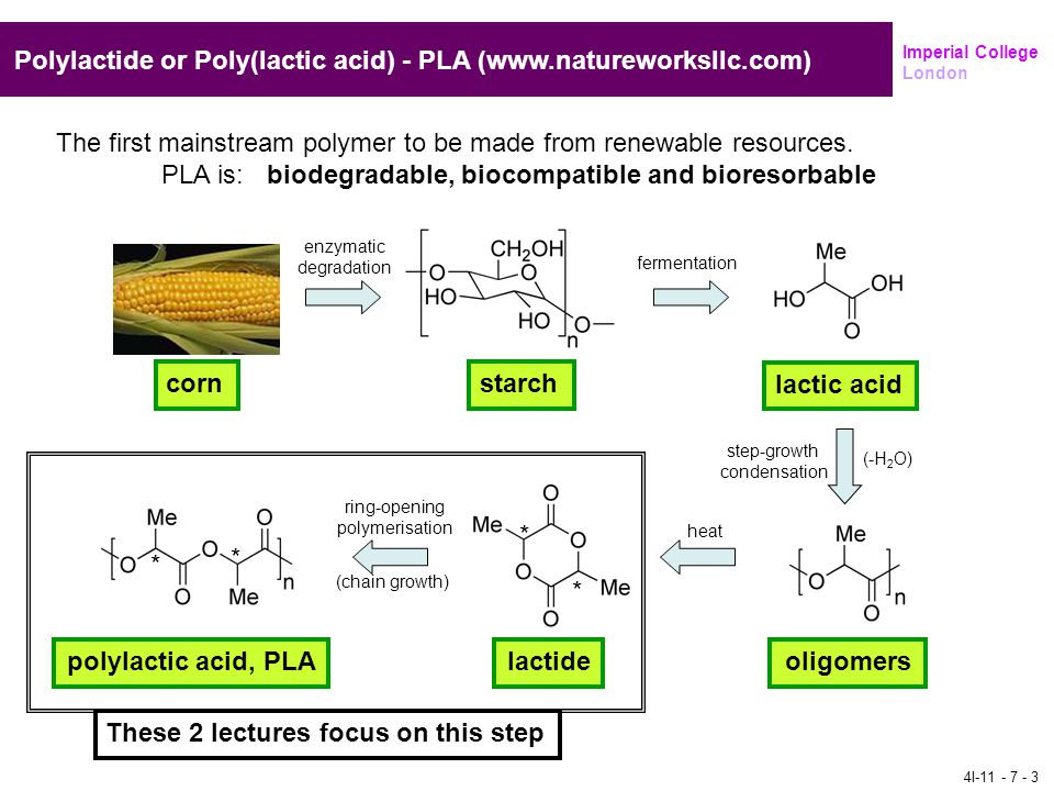 These 2 lectures focus on this step Imperial College London Polylactide or Poly(lactic acid) - PLA (www.natureworksllc.com) cornstarch lactic acid oli