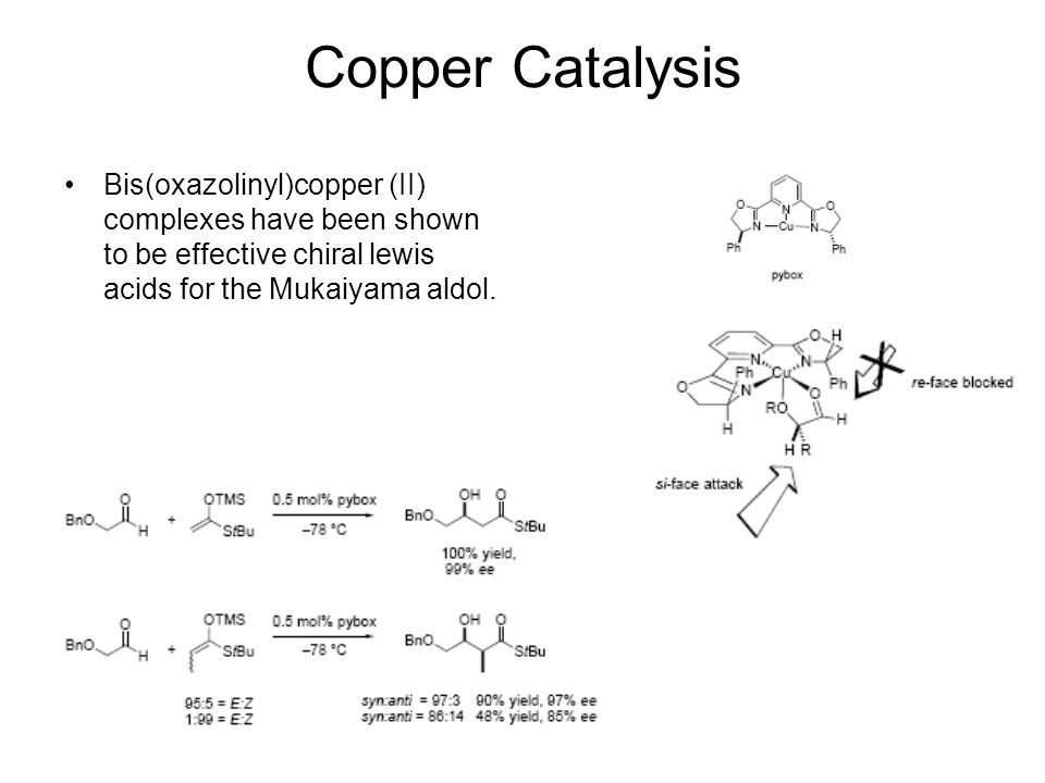 Copper Catalysis Bis(oxazolinyl)copper (II) complexes have been shown to be effective chiral lewis acids for the Mukaiyama aldol.