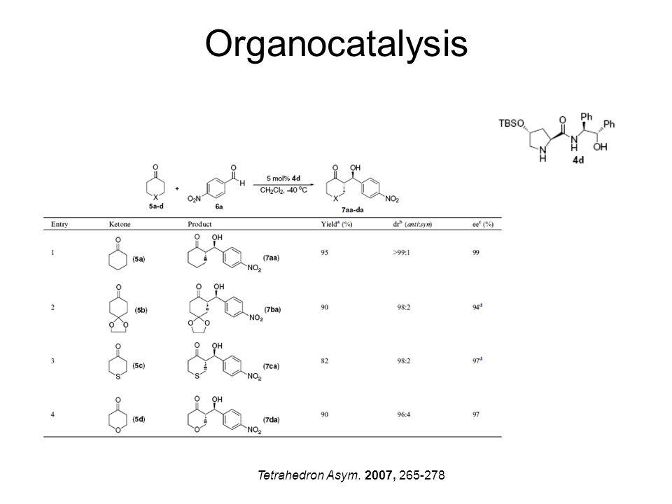Organocatalysis Tetrahedron Asym. 2007, 265-278