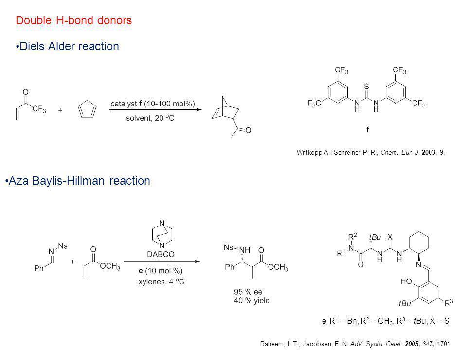 Diels Alder reaction Aza Baylis-Hillman reaction Double H-bond donors e R 1 = Bn, R 2 = CH 3, R 3 = tBu, X = S Wittkopp A.; Schreiner P. R., Chem. Eur