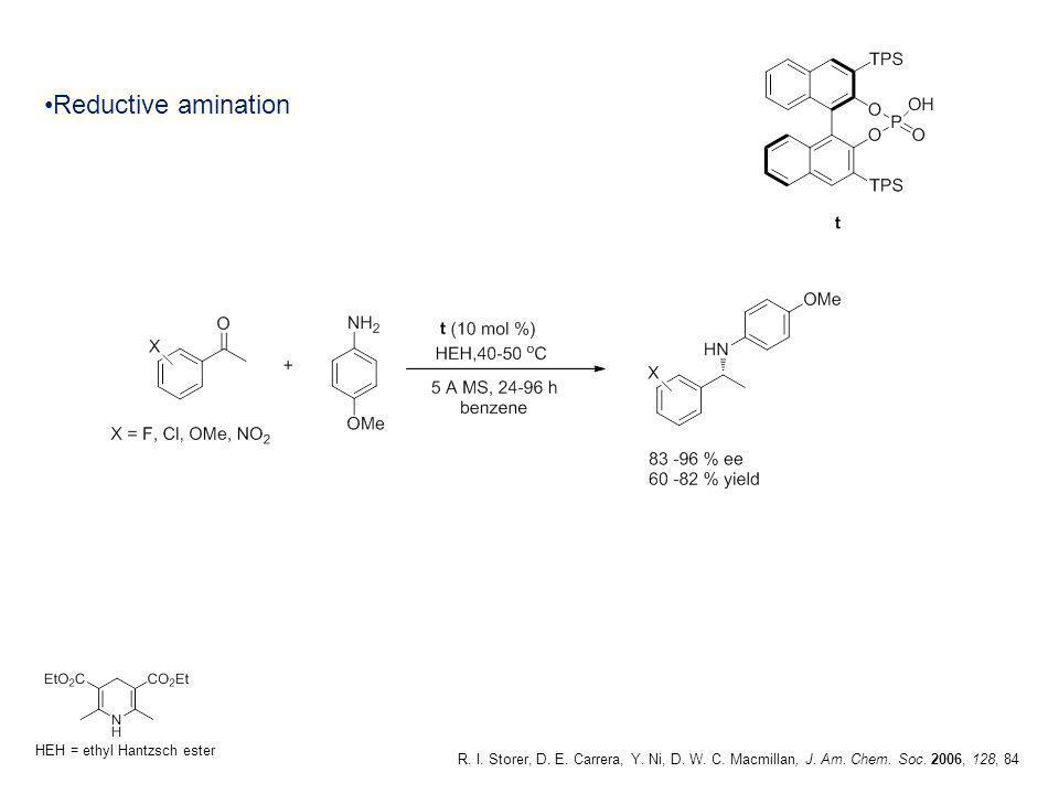 Reductive amination R. I. Storer, D. E. Carrera, Y. Ni, D. W. C. Macmillan, J. Am. Chem. Soc. 2006, 128, 84 HEH = ethyl Hantzsch ester