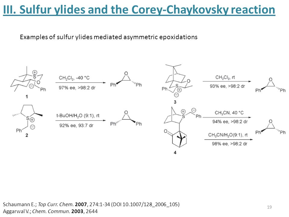 19 III. Sulfur ylides and the Corey-Chaykovsky reaction Examples of sulfur ylides mediated asymmetric epoxidations Schaumann E.; Top Curr. Chem. 2007,
