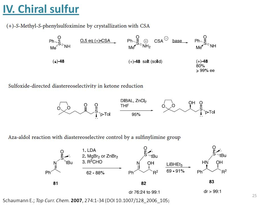25 IV. Chiral sulfur Schaumann E.; Top Curr. Chem. 2007, 274:1-34 (DOI 10.1007/128_2006_105 )