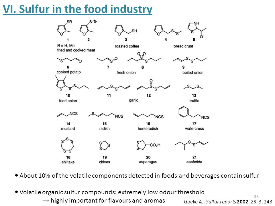 33 VI. Sulfur in the food industry  About 10% of the volatile components detected in foods and beverages contain sulfur  Volatile organic sulfur com