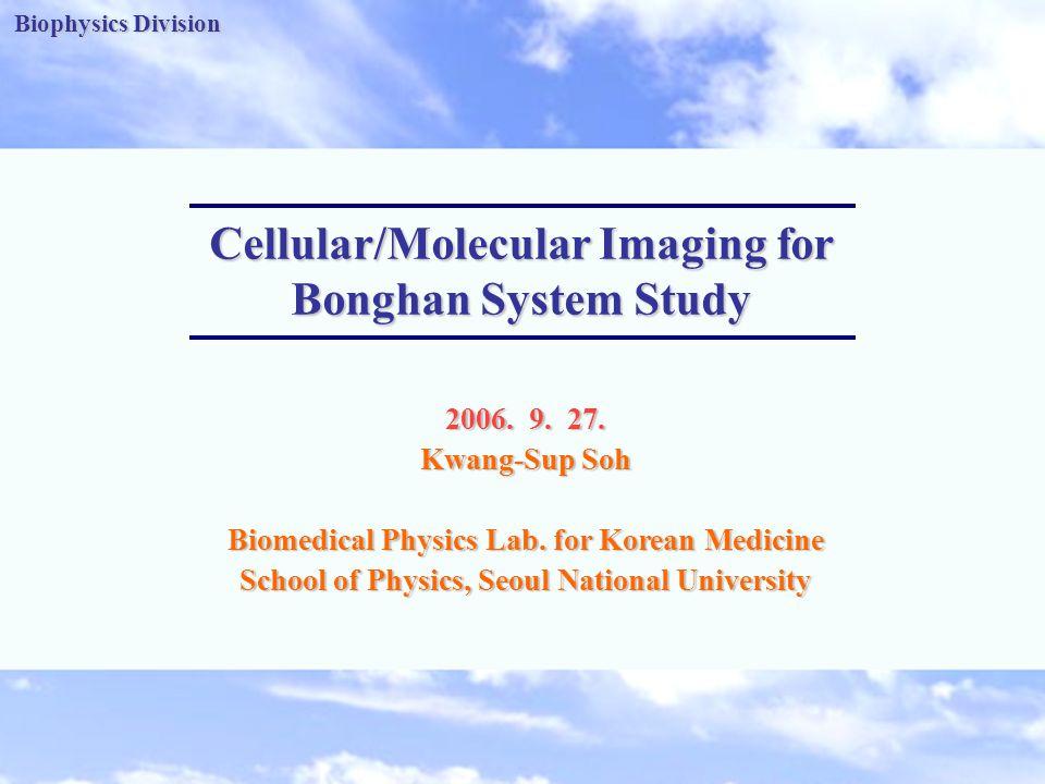 Biophysics Division -1- Biophysics Division Cellular/Molecular Imaging for Bonghan System Study 2006.