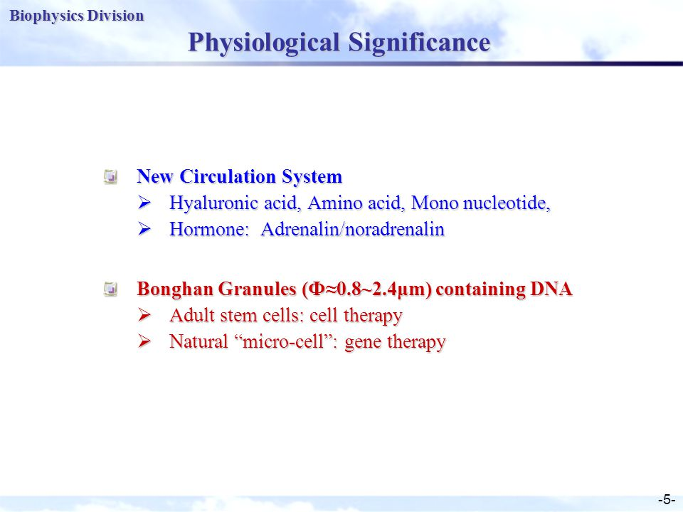 Biophysics Division -5- Physiological Significance New Circulation System  Hyaluronic acid, Amino acid, Mono nucleotide,  Hormone: Adrenalin/noradrenalin Bonghan Granules (Ф≈0.8~2.4μm) containing DNA  Adult stem cells: cell therapy  Natural micro-cell : gene therapy