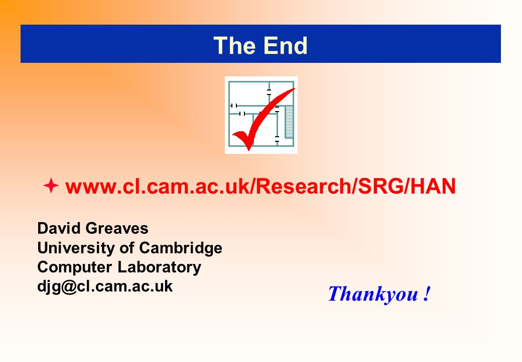 The End  www.cl.cam.ac.uk/Research/SRG/HAN Thankyou ! David Greaves University of Cambridge Computer Laboratory djg@cl.cam.ac.uk