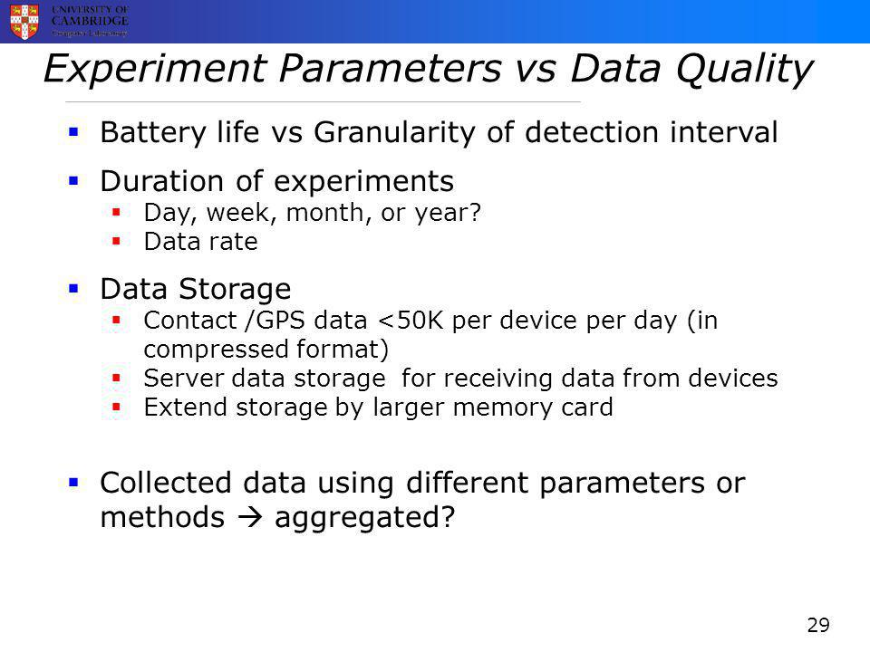 Experiment Parameters vs Data Quality  Battery life vs Granularity of detection interval  Duration of experiments  Day, week, month, or year.