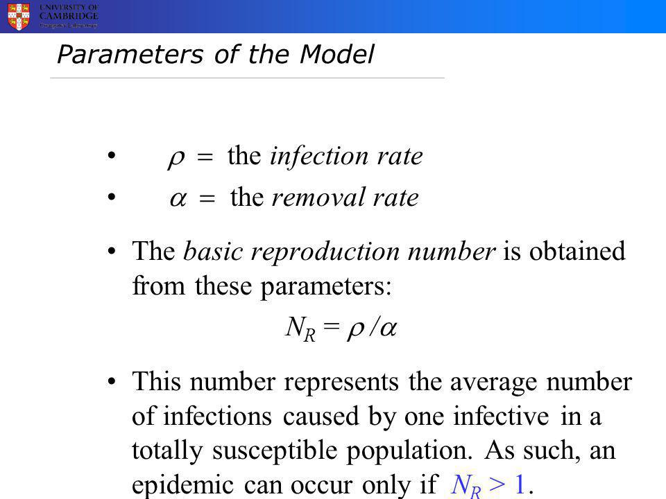 Parameters of the Model  the infection rate  the removal rate The basic reproduction number is obtained from these parameters: N R =  /  This number represents the average number of infections caused by one infective in a totally susceptible population.