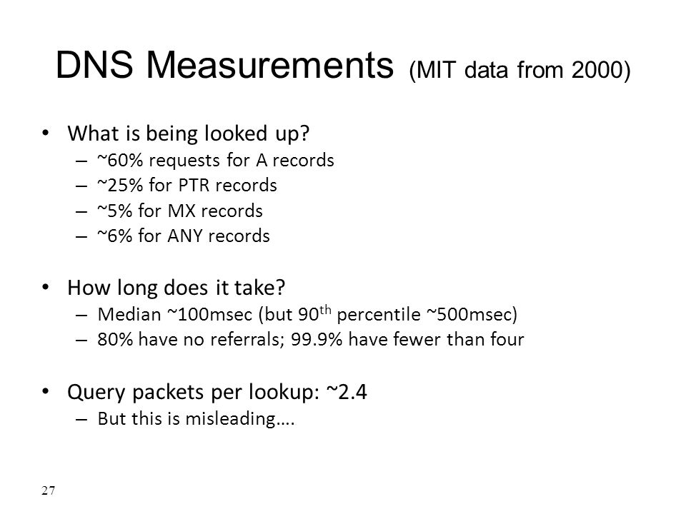 DNS Measurements (MIT data from 2000) What is being looked up.