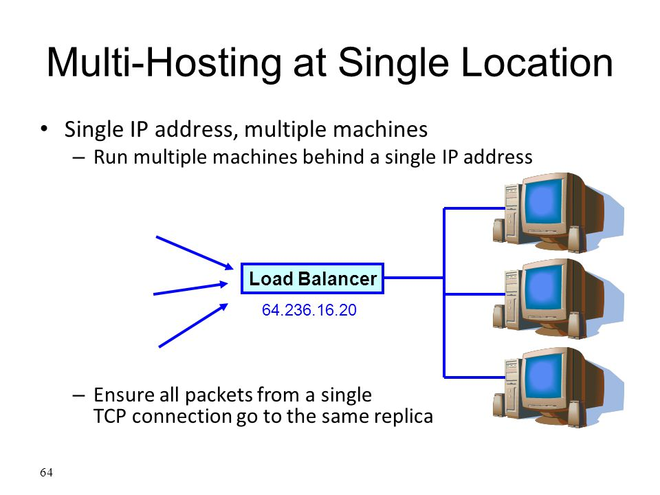 64 Multi-Hosting at Single Location Single IP address, multiple machines – Run multiple machines behind a single IP address – Ensure all packets from a single TCP connection go to the same replica Load Balancer 64.236.16.20