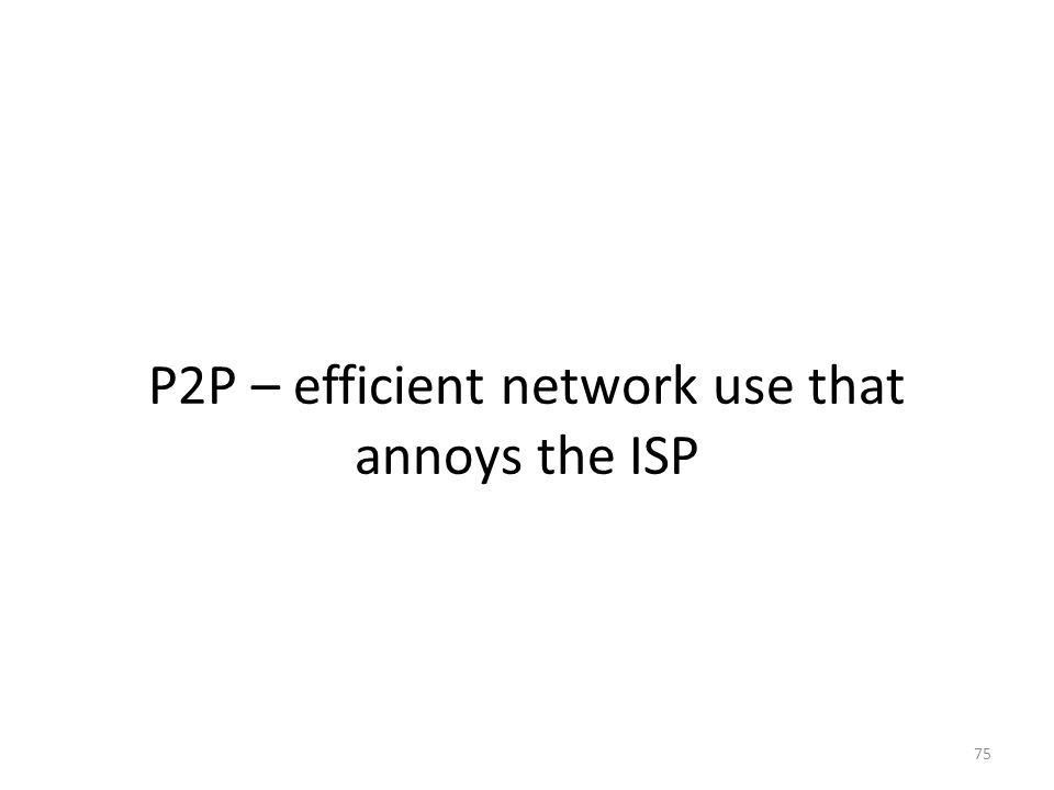 P2P – efficient network use that annoys the ISP 75