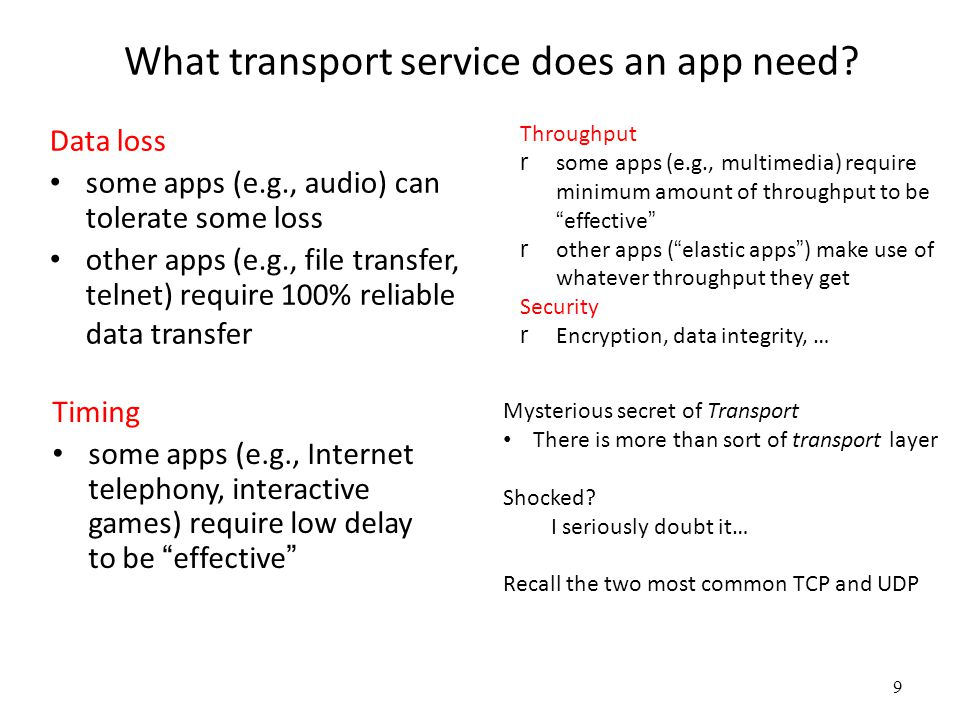 9 What transport service does an app need.