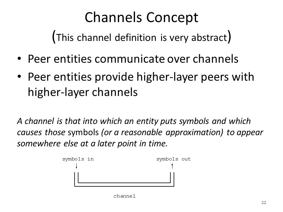 Channels Concept ( This channel definition is very abstract ) Peer entities communicate over channels Peer entities provide higher-layer peers with higher-layer channels A channel is that into which an entity puts symbols and which causes those symbols (or a reasonable approximation) to appear somewhere else at a later point in time.