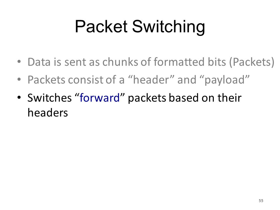 Packet Switching Data is sent as chunks of formatted bits (Packets) Packets consist of a header and payload Switches forward packets based on their headers 55
