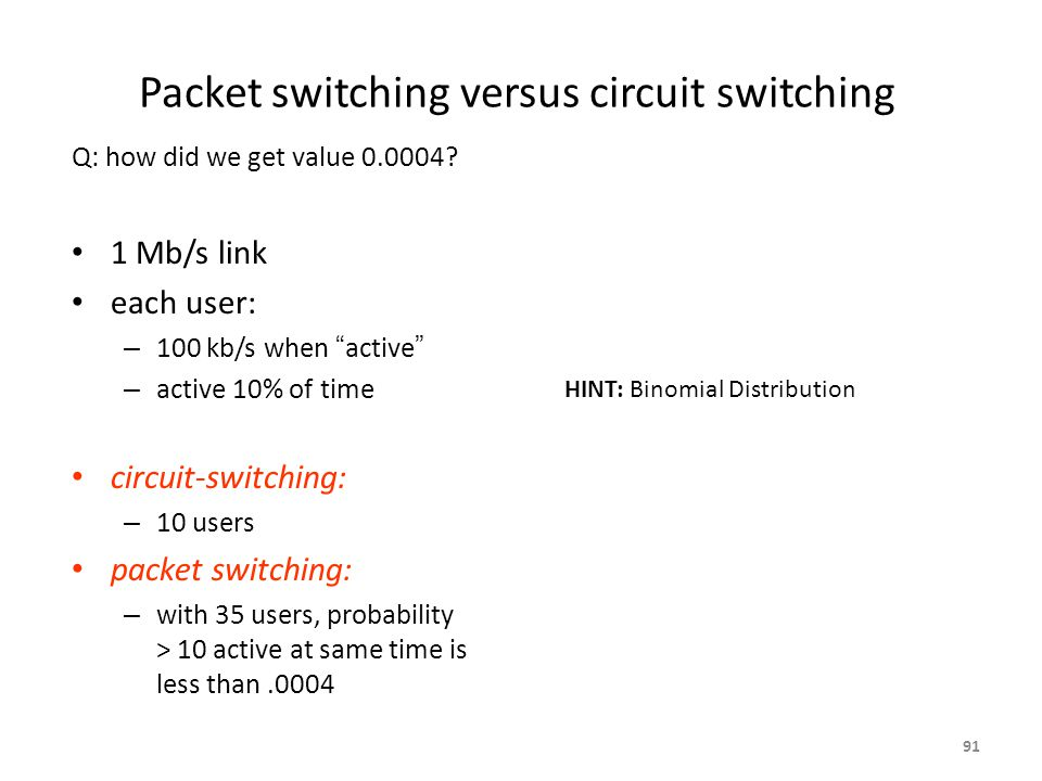 Packet switching versus circuit switching 1 Mb/s link each user: – 100 kb/s when active – active 10% of time circuit-switching: – 10 users packet switching: – with 35 users, probability > 10 active at same time is less than.0004 Q: how did we get value 0.0004.