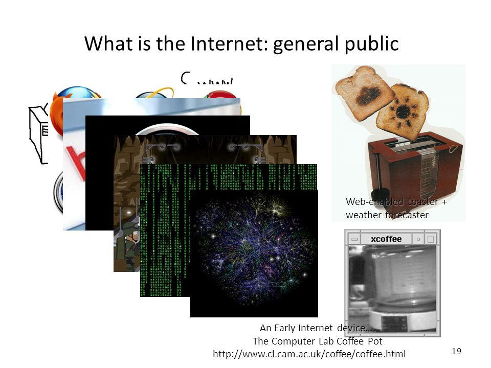 19 What is the Internet: general public Web-enabled toaster + weather forecaster An Early Internet device…. The Computer Lab Coffee Pot http://www.cl.