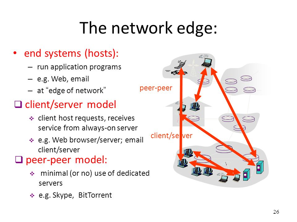 """26 The network edge: end systems (hosts): – run application programs – e.g. Web, email – at """"edge of network"""" client/server peer-peer  client/server"""