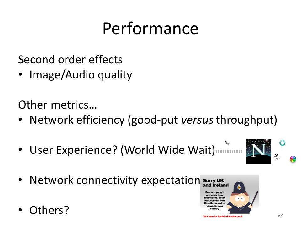 Performance Second order effects Image/Audio quality Other metrics… Network efficiency (good-put versus throughput) User Experience? (World Wide Wait)