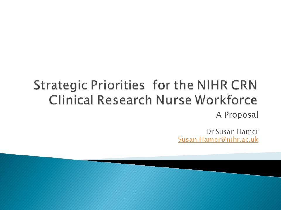 A Proposal Dr Susan Hamer Susan.Hamer@nihr.ac.uk