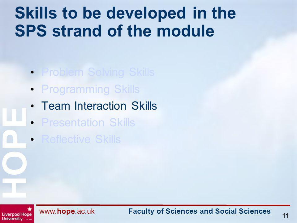 www.hope.ac.uk Faculty of Sciences and Social Sciences HOPE 11 Skills to be developed in the SPS strand of the module Problem Solving Skills Programmi