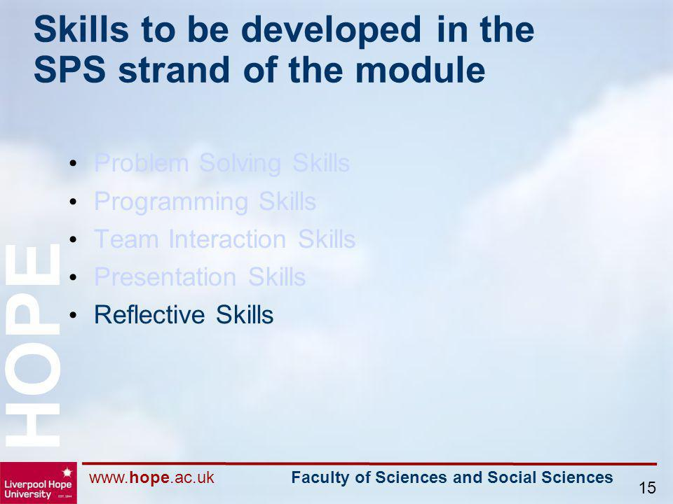 www.hope.ac.uk Faculty of Sciences and Social Sciences HOPE 15 Skills to be developed in the SPS strand of the module Problem Solving Skills Programmi