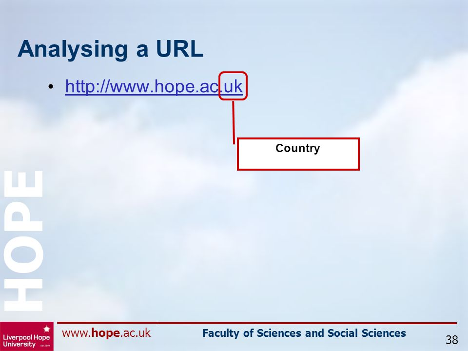 www.hope.ac.uk Faculty of Sciences and Social Sciences HOPE Analysing a URL http://www.hope.ac.uk 38 Country