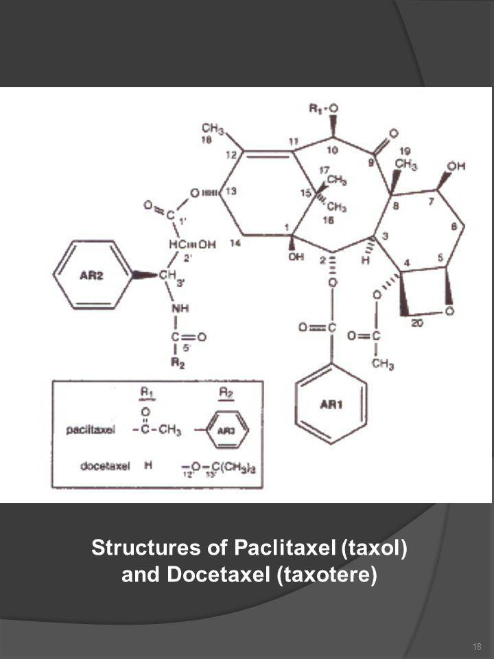 18 Structures of Paclitaxel (taxol) and Docetaxel (taxotere)