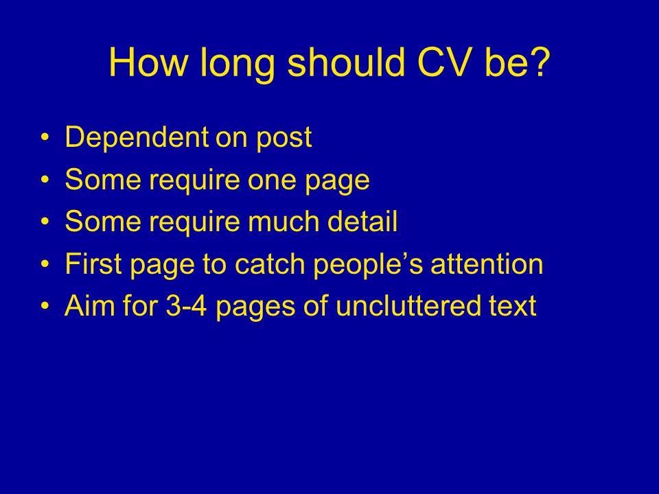 How long should CV be.