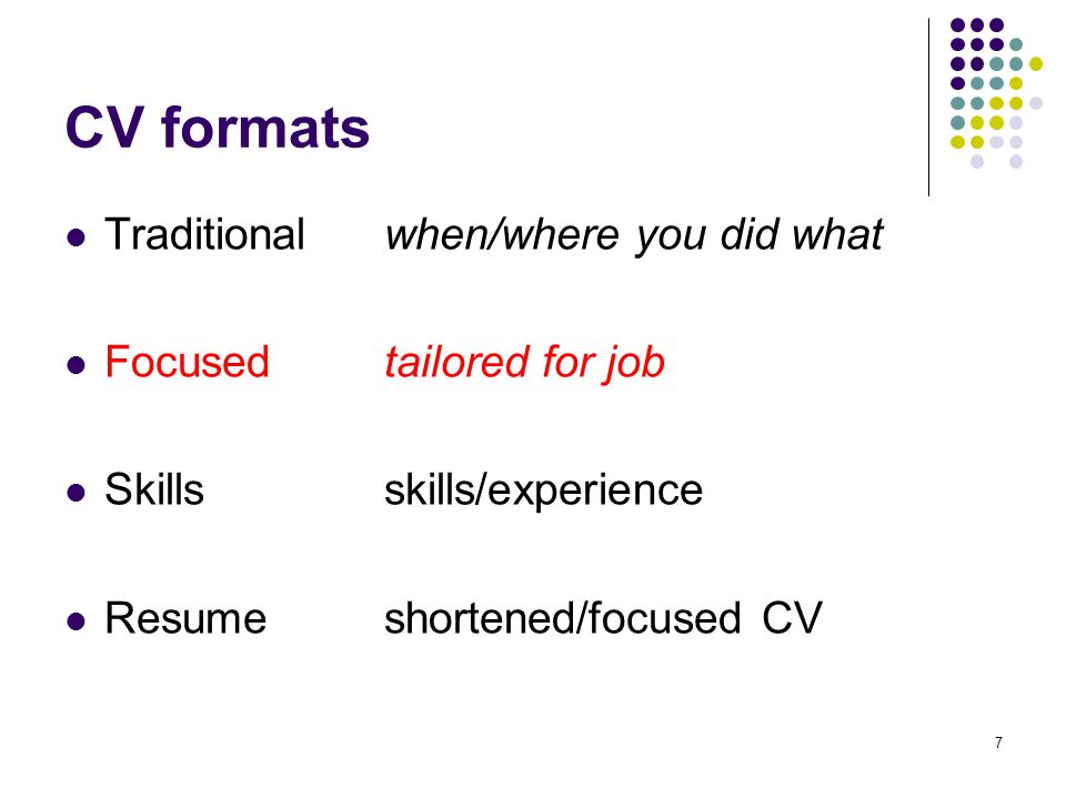 8 Traditional format Headings – bold and block at left margin Personal details – centre across page Profile statement Skills.