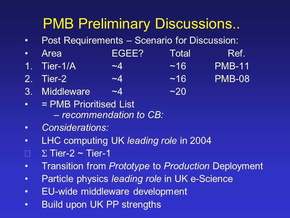 PMB Preliminary Discussions..Post Requirements – Scenario for Discussion: AreaEGEE?TotalRef.