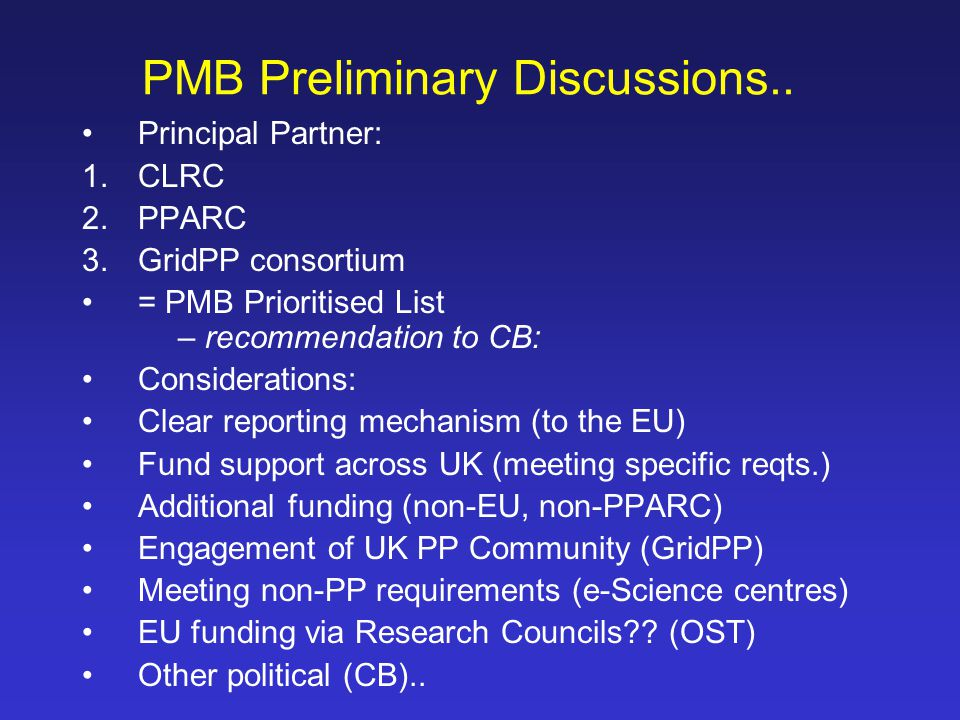 PMB Preliminary Discussions..