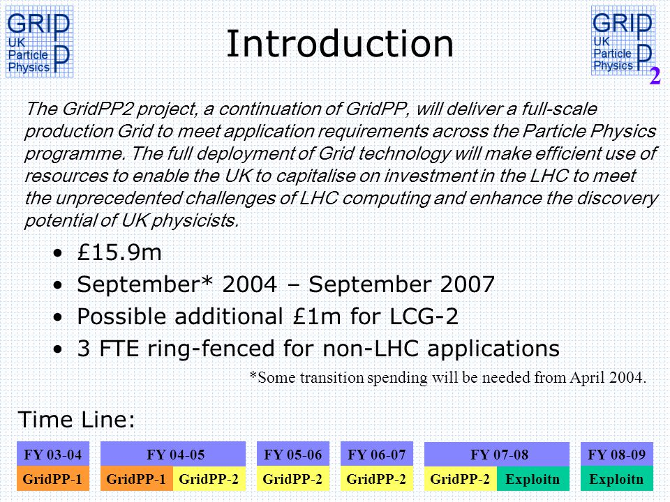 2 Introduction £15.9m September* 2004 – September 2007 Possible additional £1m for LCG-2 3 FTE ring-fenced for non-LHC applications *Some transition s