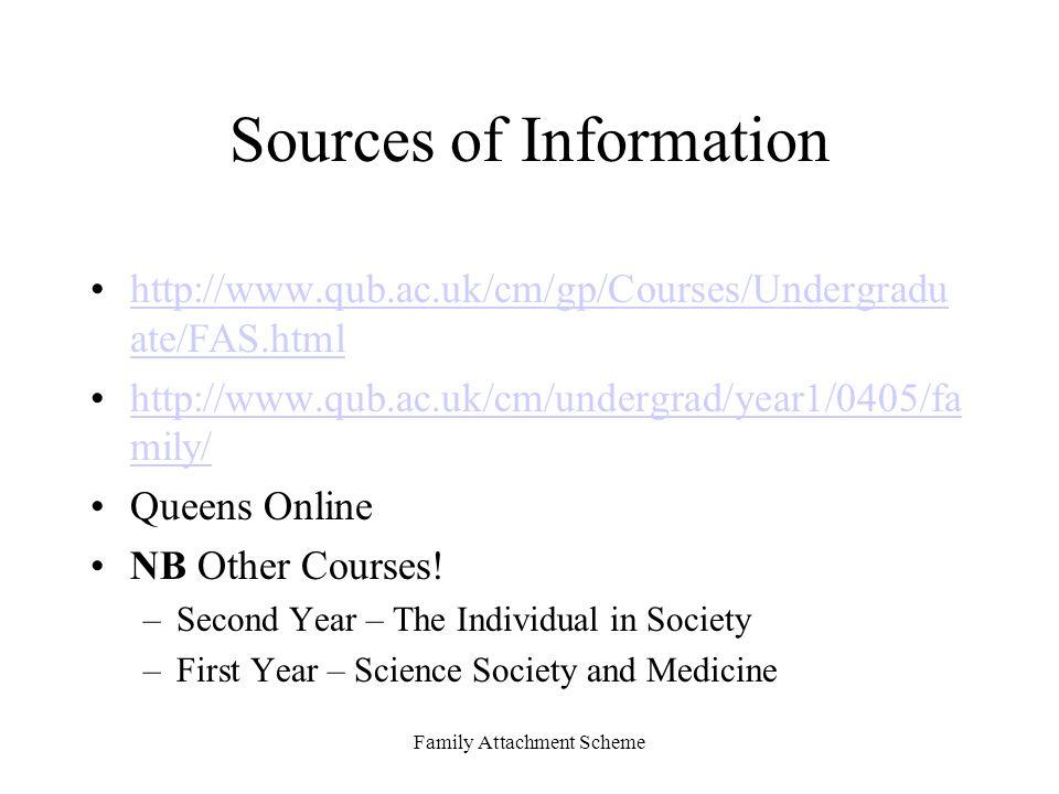 Family Attachment Scheme Sources of Information http://www.qub.ac.uk/cm/gp/Courses/Undergradu ate/FAS.htmlhttp://www.qub.ac.uk/cm/gp/Courses/Undergradu ate/FAS.html http://www.qub.ac.uk/cm/undergrad/year1/0405/fa mily/http://www.qub.ac.uk/cm/undergrad/year1/0405/fa mily/ Queens Online NB Other Courses.