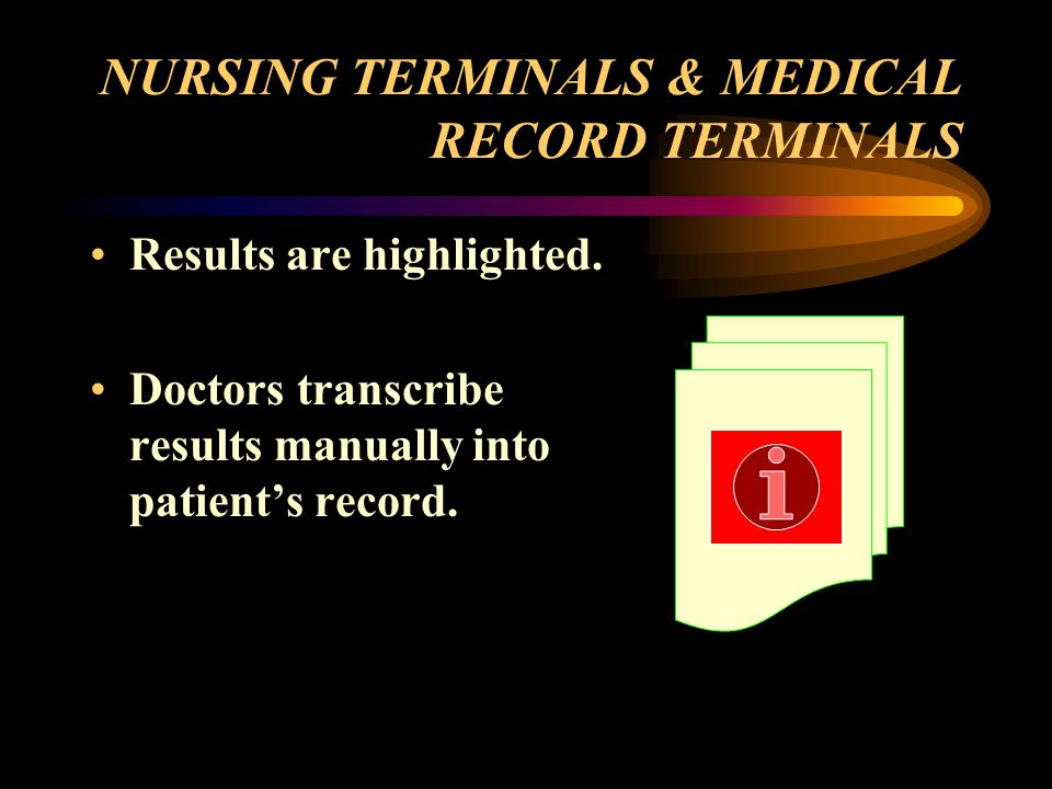 NURSING TERMINALS & MEDICAL RECORD TERMINALS Results are highlighted.