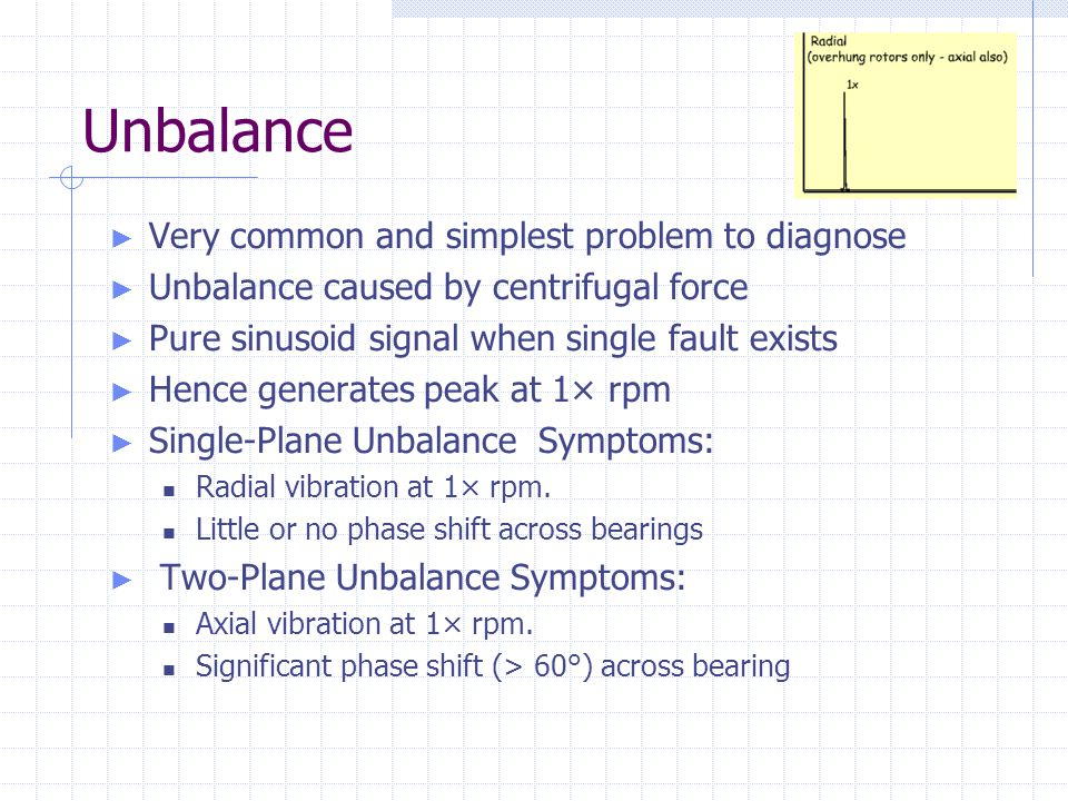 Unbalance ► Very common and simplest problem to diagnose ► Unbalance caused by centrifugal force ► Pure sinusoid signal when single fault exists ► Hen