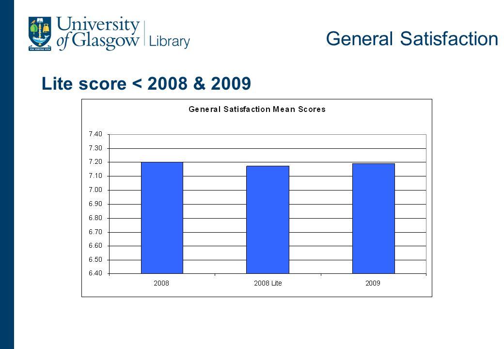 General Satisfaction Lite score < 2008 & 2009
